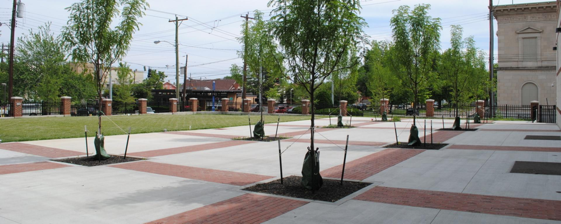 Courtyard view of Covington Latin School