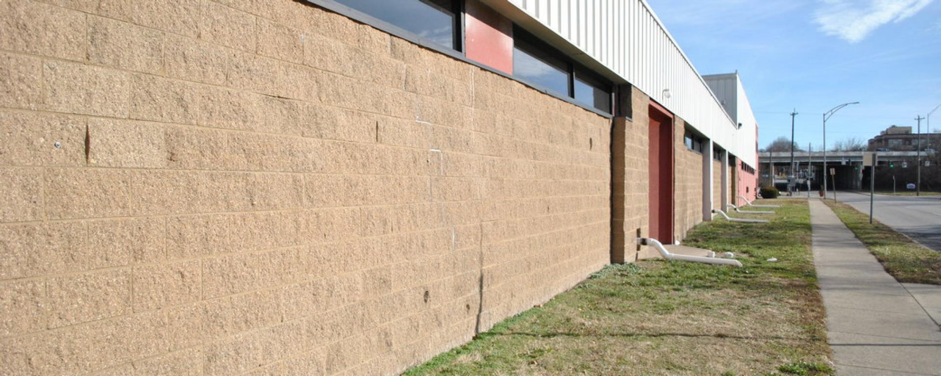 Side view of Cincinnati Public Library Distribution Center drainage system