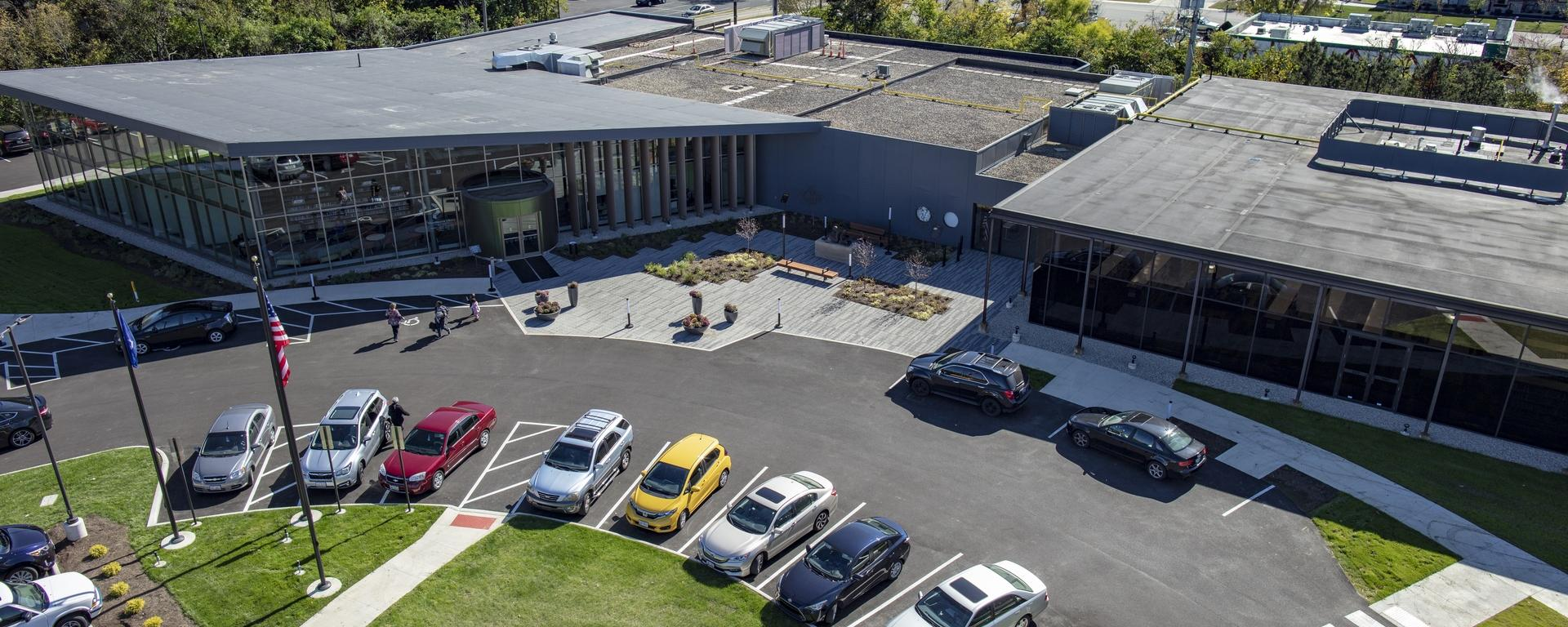 Another angle aerial view of Woodbourne Library