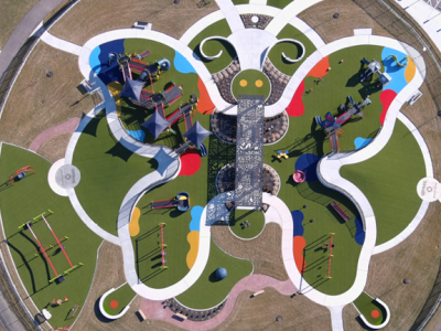Butterfly shaped playground aerial view