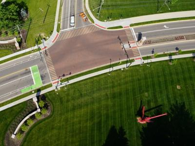 Aerial view of Miami University Gateways